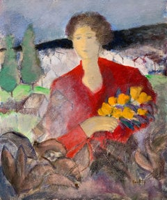 Provencal Lady in Red Holding Yellow Flowers Signed French Modernist Painting