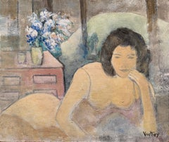 Semi Nude Lady laying on Bed Soft Pastel Shades of Colour, Flowers Still Life