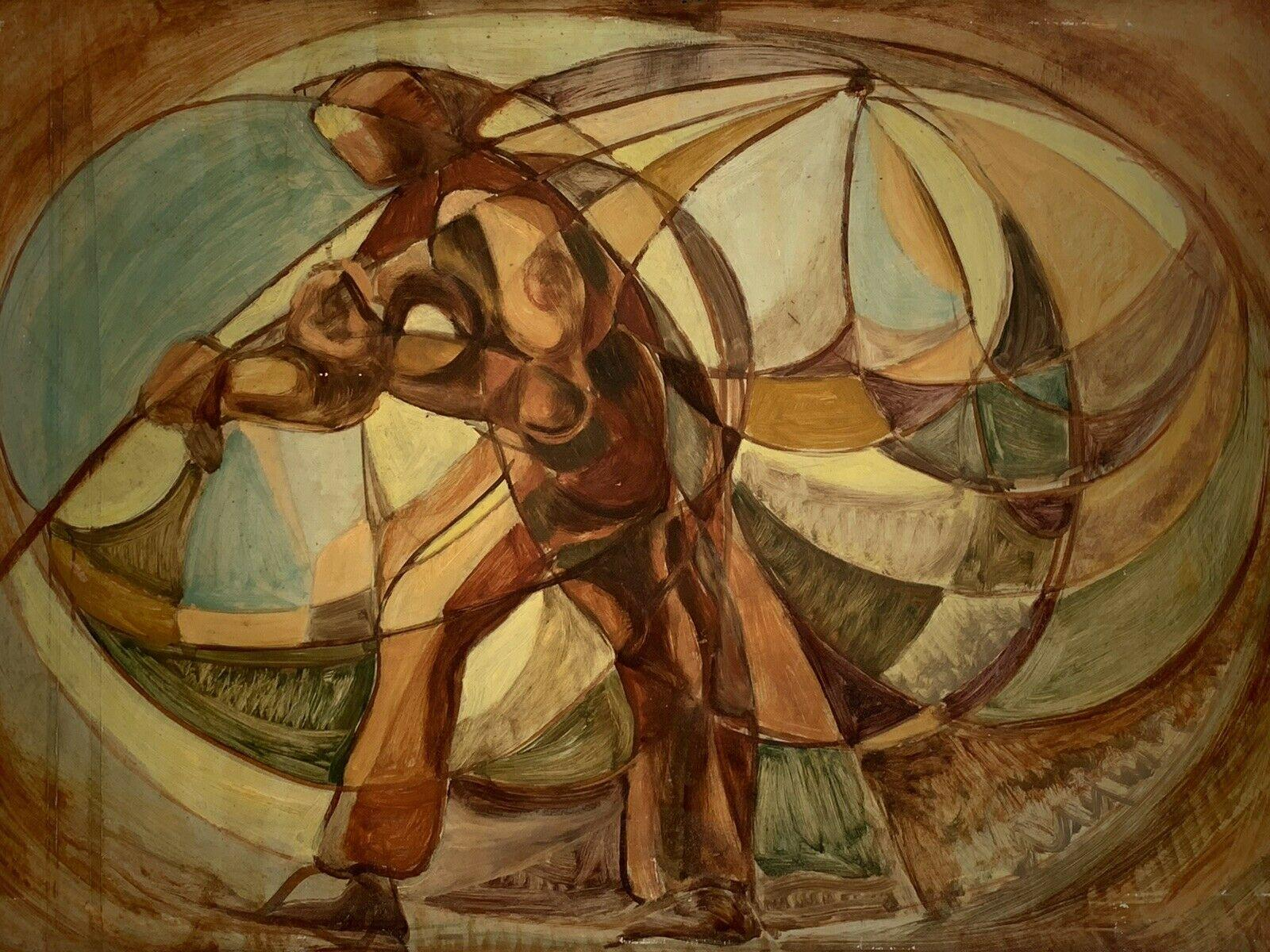 1960's HUGE FRENCH CUBIST ABSTRACT OIL PAINTING - FIGURATIVE COMPOSITION