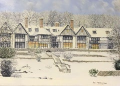 LARGE ENGLISH OIL PAINTING TUDOR HOUSES IN WINTER SNOW LANDSCAPE