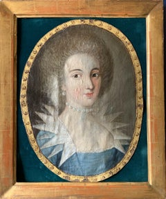 FINE 18th CENTURY FRENCH ROCOCO OVAL OIL - PORTRAIT OF ARISTOCRATIC LADY PEARLS