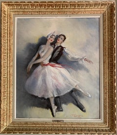 VINTAGE FRENCH OIL PAINTING - BALLET DE L'OPERA - BEAUTIFUL DANCERS - SIGNED