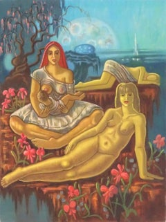 The Garden of Eden Huge British Surrealist Oil Painting Reclining Nudes