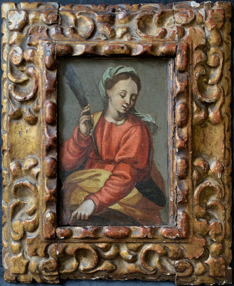 Unknown Figurative Painting - 16/17th Century Italian Old Master Oil Painting on Panel The Virgin Mary