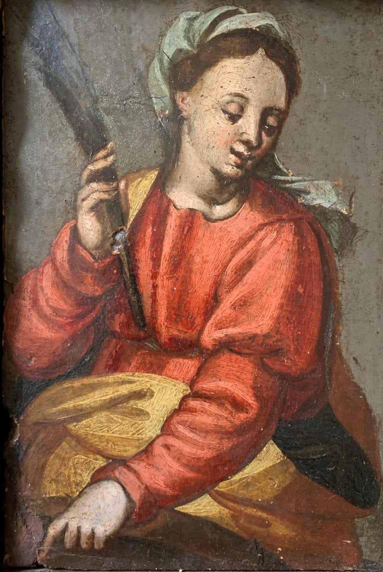 16/17th Century Italian Old Master Oil Painting on Panel The Virgin Mary For Sale 1
