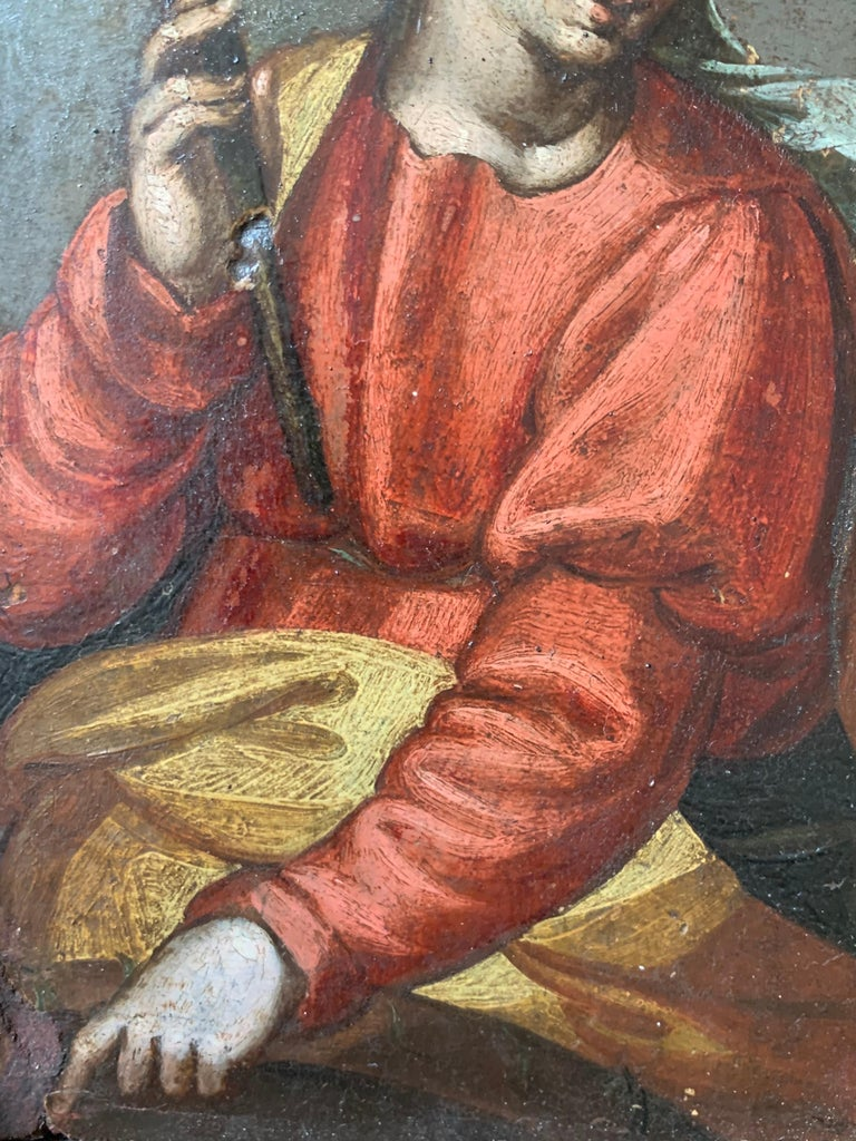 16/17th Century Italian Old Master Oil Painting on Panel The Virgin Mary For Sale 3