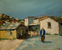 Shepherd in Provencal Village Lane leading his Flock, signed French oil painting