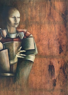 Huge French Modernist Portrait of Cubist Figure Oil Painting on Canvas