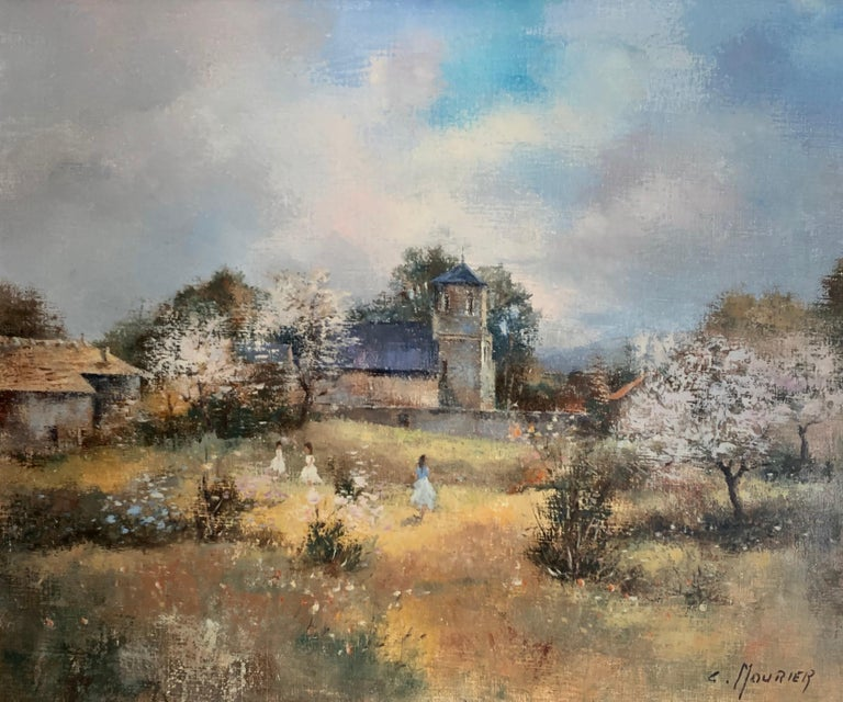 Claude Mourier Landscape Painting - Children Playing in Orchards Blossom on Trees Signed French Impressionist Oil