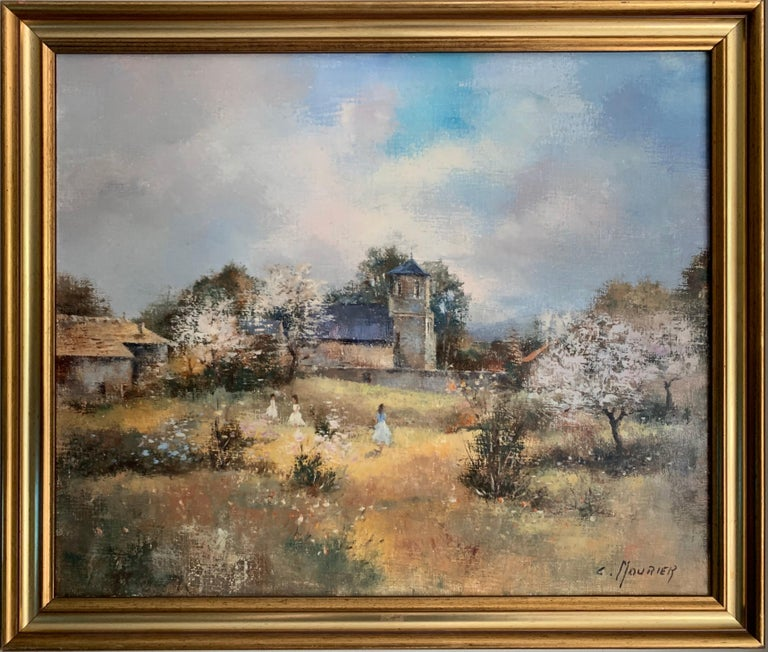 Children Playing in Orchards Blossom on Trees Signed French Impressionist Oil - Painting by Claude Mourier