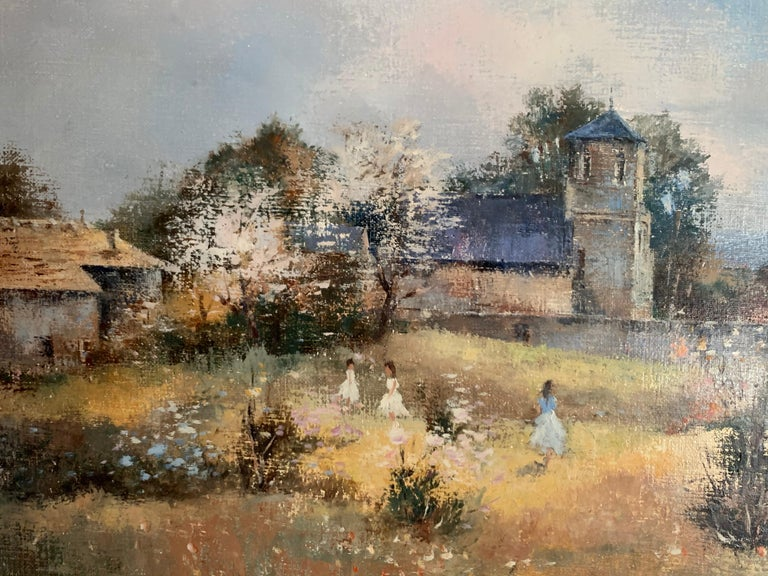 The Orchard by Claude Mourier (French, b.1930) signed lower right with the artists Certificate of Authenticity oil painting on canvas, framed canvas: 18 x 21.5 inches framed: 21 x 25 inches  Beautiful French Impressionist oil painting on canvas,