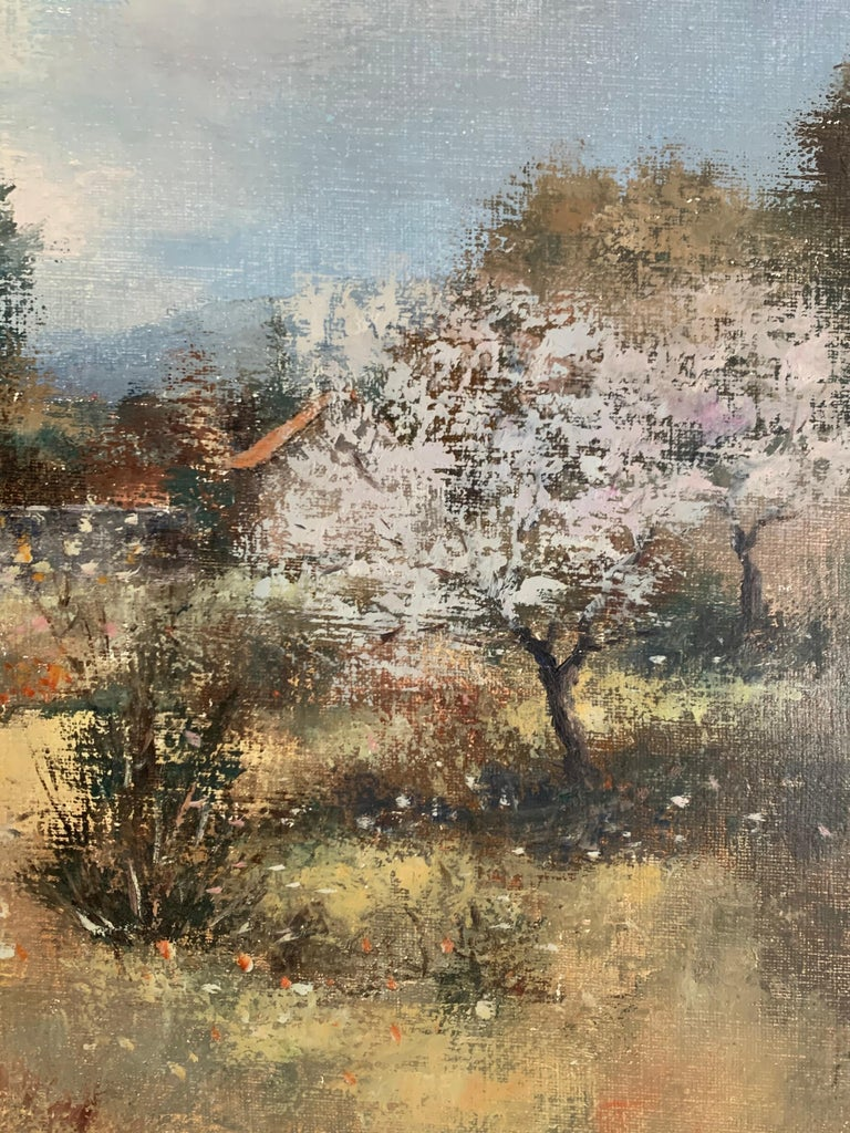 Children Playing in Orchards Blossom on Trees Signed French Impressionist Oil For Sale 1