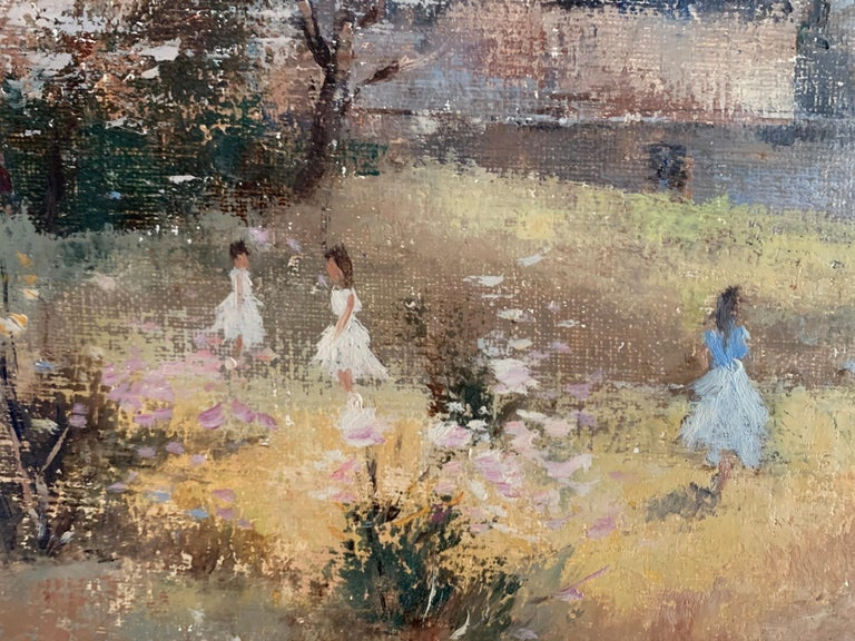 Children Playing in Orchards Blossom on Trees Signed French Impressionist Oil For Sale 3