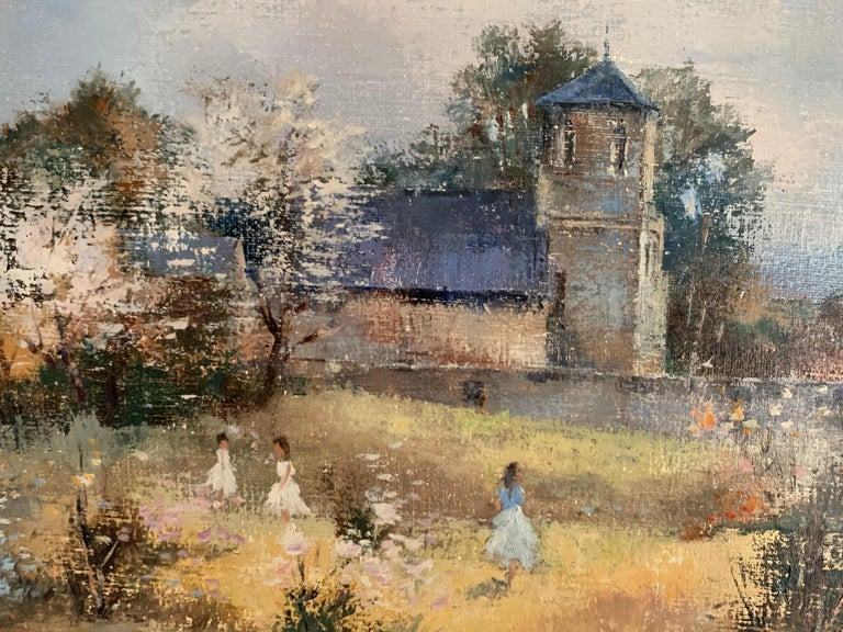 Children Playing in Orchards Blossom on Trees Signed French Impressionist Oil For Sale 4