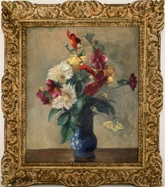 FINE FRENCH 1950'S IMPRESSIONIST SIGNED OIL - STILL LIFE FLOWERS IN BLUE VASE