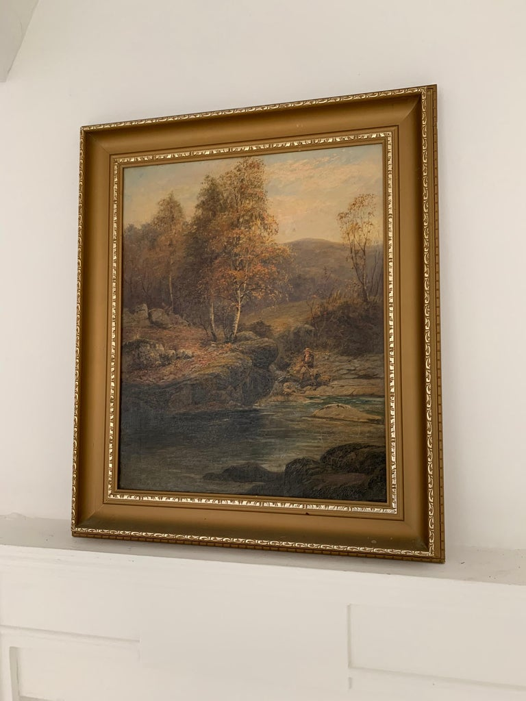 FINE VICTORIAN SIGNED OIL PAINTING - ANGLER IN AUTUMNAL RIVER LANDSCAPE - Painting by E. Davies