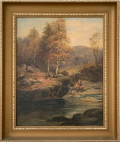 FINE VICTORIAN SIGNED OIL PAINTING - ANGLER IN AUTUMNAL RIVER LANDSCAPE