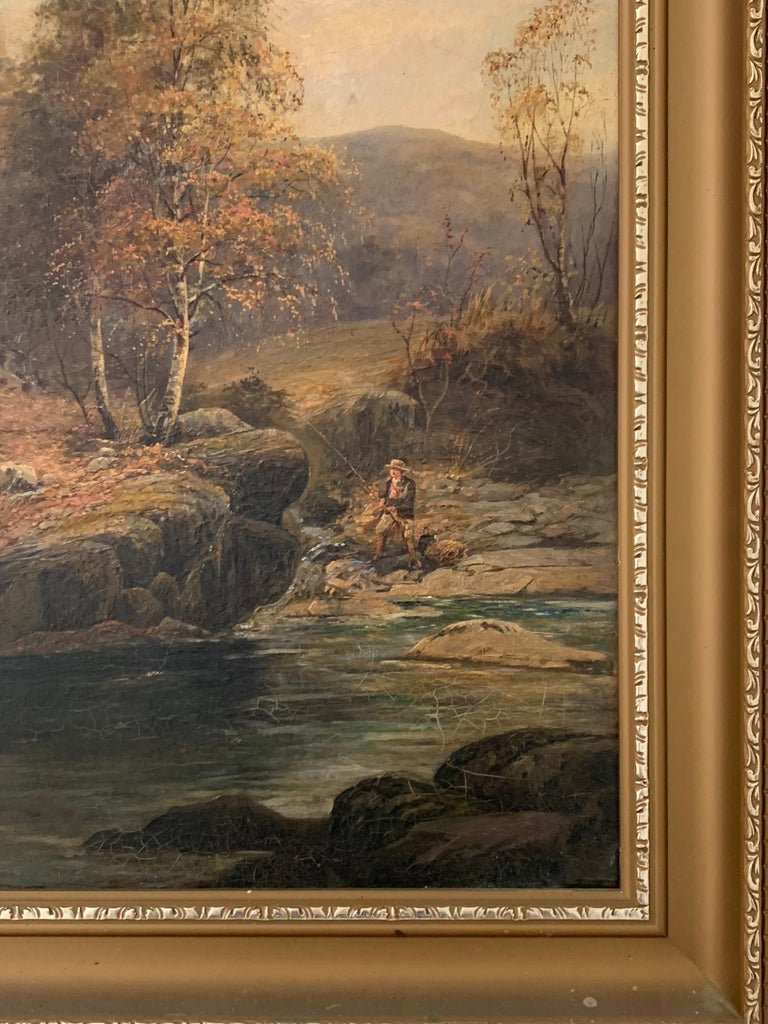 FINE VICTORIAN SIGNED OIL PAINTING - ANGLER IN AUTUMNAL RIVER LANDSCAPE - Brown Figurative Painting by E. Davies