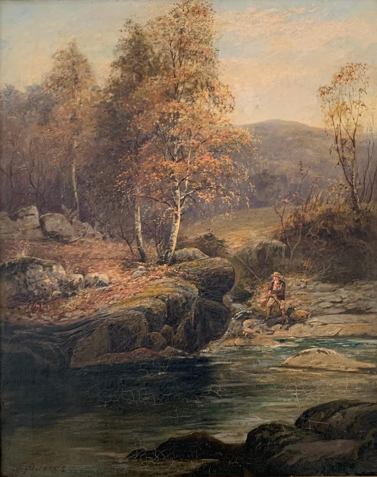 FINE VICTORIAN SIGNED OIL PAINTING - ANGLER IN AUTUMNAL RIVER LANDSCAPE - Victorian Painting by E. Davies