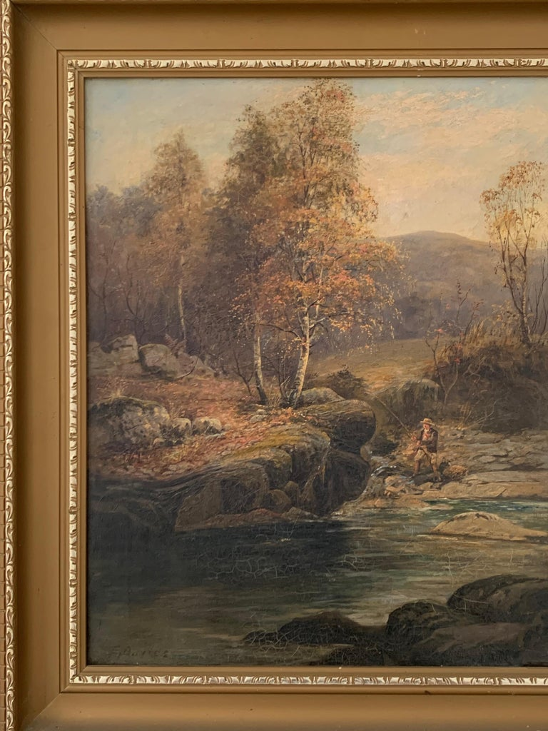 FINE VICTORIAN SIGNED OIL PAINTING - ANGLER IN AUTUMNAL RIVER LANDSCAPE For Sale 1