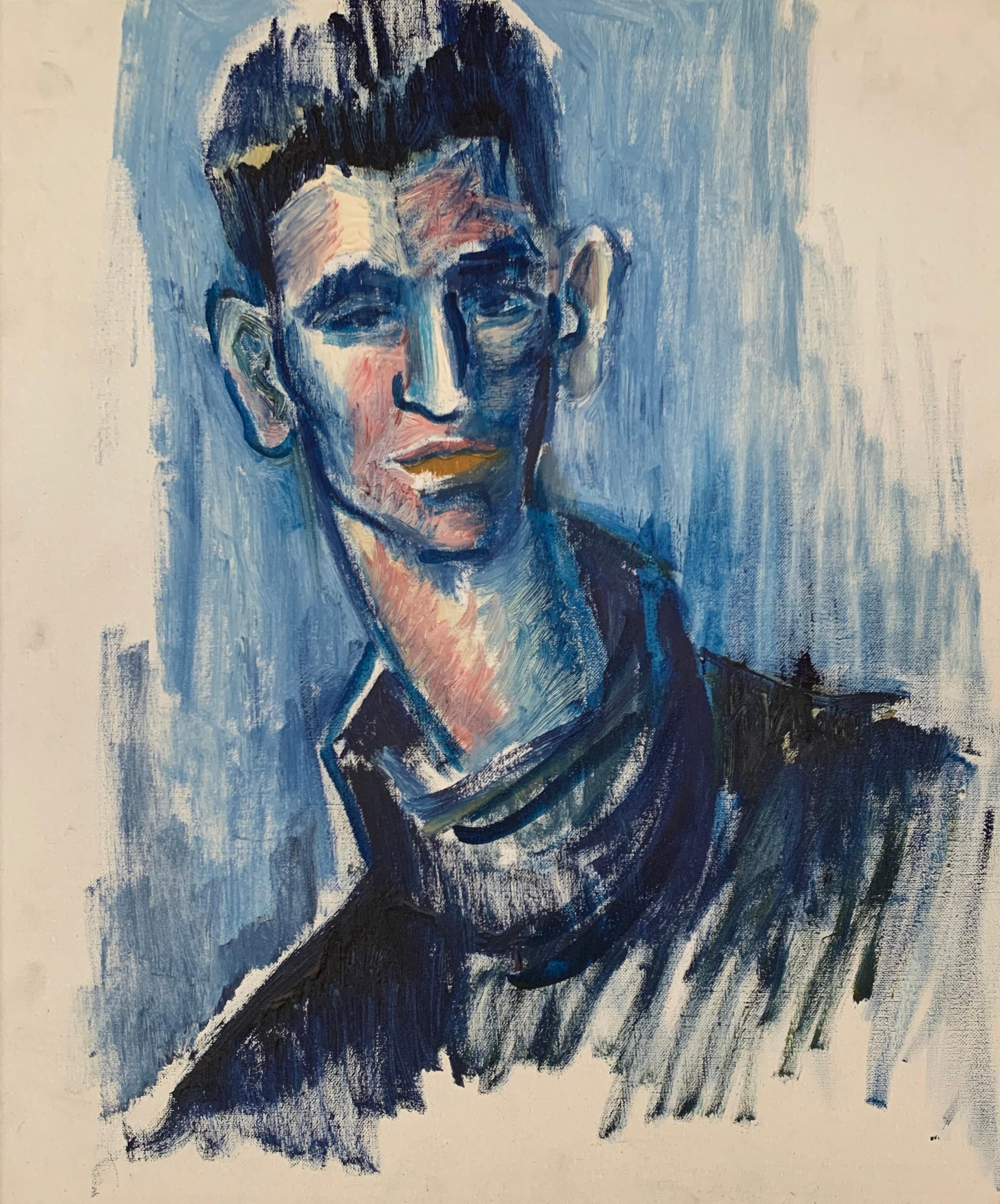 Portrait of Young Man in Blue, French School, oil on canvas framed modern