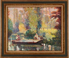 French Pointillist Signed Oil Painting Figures on River in Wooden Punt Landscape