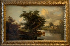 FINE 1820'S DUTCH LARGE OIL PAINTING - CATTLE WATERING RIVER LANDSCAPE AT DUSK