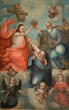 ENORMOUS 18th CENTURY SPANISH OLD MASTER OIL PAINTING - ASSUMPTION OF THE VIRGIN