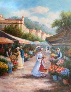 Le Marche de Fleurs Very Large French Impressionist Signed Oil Figures at Market