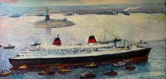 RMS Queen Elizabeth sailing into New York Statue of Liberty Oil Painting