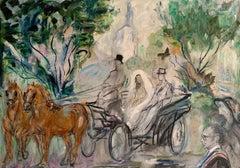 The Wedding Carriage - Bridge & Groom leaving Church - Pupil of Matisse