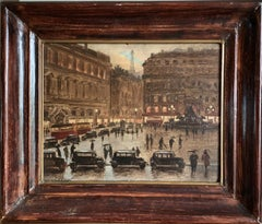 1940's/50's FRENCH SIGNED OIL - PARIS IN THE RAIN - BUSY SCENE AT DUSK WITH CARS