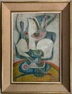 1960'S FRENCH SIGNED SURREALIST ABSTRACT OIL PAINTING - BEAUTIFUL COLOURS