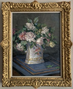 EARLY 1900'S ENGLISH IMPRESSIONIST SIGNED OIL - STILL LIFE ROSES IN ORNATE VASE