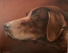 German Short Haired Pointer dog portrait, signed English original oil painting