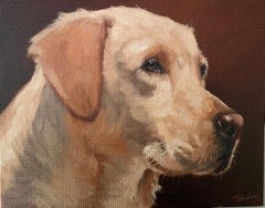 Yellow Labrador Dog Head Portrait Signed Oil Painting listed British artist
