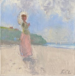 Elegant Lady with Parasol looking out to Sea on Beach, Soft Pastel Shades Color