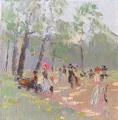 Elegant Figures Walking in Parisian Park, soft green shades of color