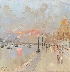 Figures Walking by the River Seine Paris, early evening pink sunset sky