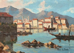 VINTAGE FRENCH SIGNED OIL - FISHING BOATS SLEEPY MEDITERRANEAN OLD TOWN HARBOUR