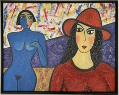 HUGE FRENCH MODERNIST SIGNED OIL - TWO LADIES - ONE NUDE - BRIGHT COLOURS