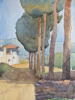 1900's English Impressionist Watercolor Painting Tuscany Pathway Landscape
