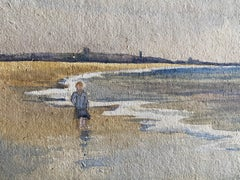 1900's English Impressionist Watercolor Painting Girl Walking on Beach