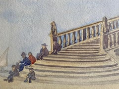 1900's English Impressionist Watercolor Painting Italian Classical Steps