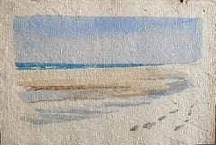 1900's English Impressionist Watercolor Painting Empty Beach Footsteps in Sand