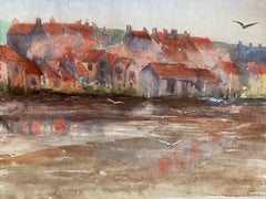 1900's English Impressionist Watercolor Painting Rustic Scenic Beach Town