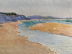1900's English Impressionist Watercolor Painting Stunning Sea And Sand