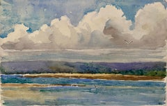 1900's English Impressionist Watercolor Painting Vibrant Blue Beach