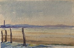 1900's English Impressionist Watercolor Painting Peaceful Quiet Beach
