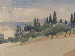 1900's English Impressionist Watercolor Painting Beautiful Open Tuscan Landscape
